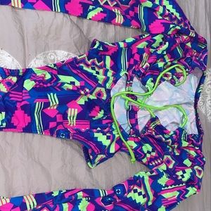 One piece long sleeve bathing suit